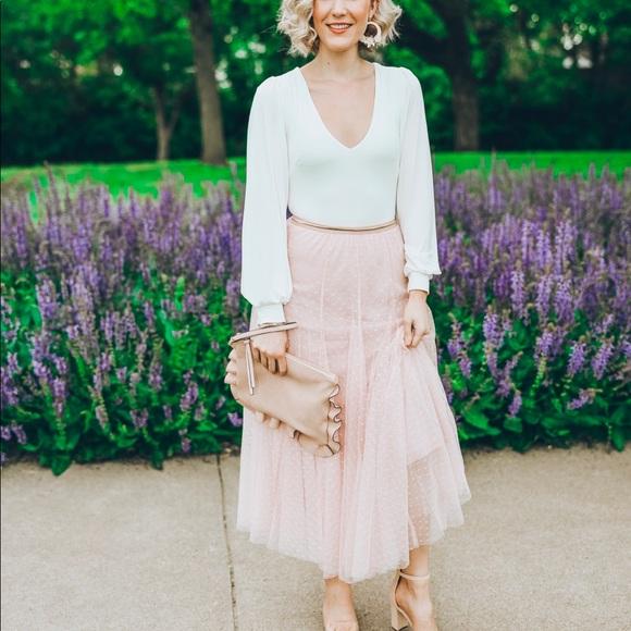 Chicwish Dresses & Skirts - Chicwish Blush Polka Dot Tulle Midi Skirt